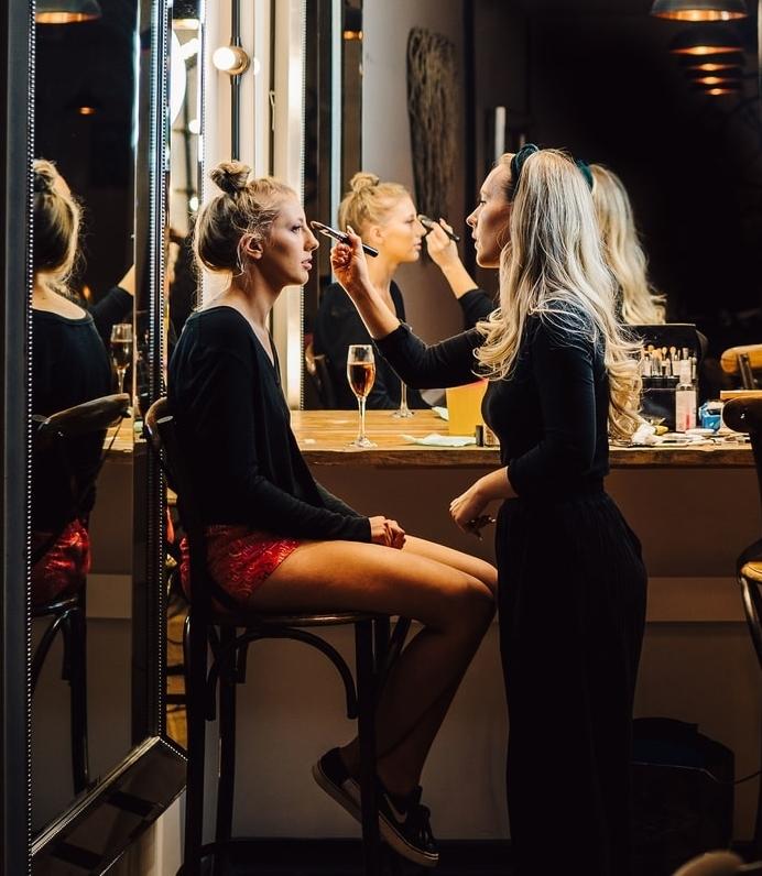 Action Shot of Professional Makeup Artist